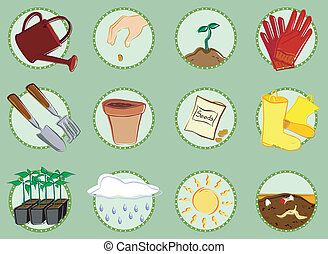 Twelve icons related to gardening. A watering can, hand dropping a seed, a seedling, gardening gloves, trowel and garden rake, flower pot, seed packet, rubber boot, six pack of plants, cloud with rain, sun and compost.