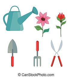 Gardening icon set vector design