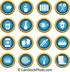Gardening icons blue circle set