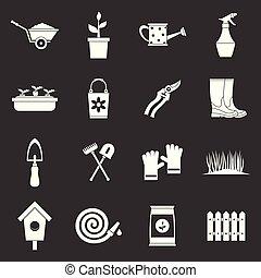 Gardening icons set grey vector