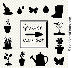 Gardening icons set isolated on transparent background