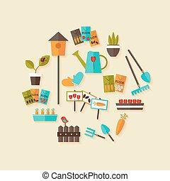 Gardening icons set over light beige - Illustration of...