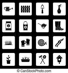 Gardening icons set squares vector