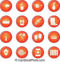 Gardening icons vector set