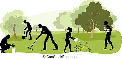 Gardening - Vector illustration of people working in the...