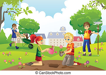 A vector illustration of kids gardening outside