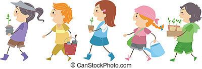 Gardening Kids - Illustration of Kids Carrying Gardening...