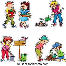 gardening kids - kids planting things and working in the...