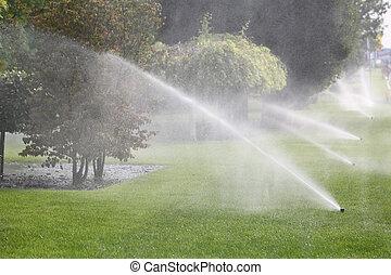 Gardening. Lawn Sprinkler Spraying Water Over Green Grass in Garden