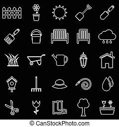 Gardening line icons on black background