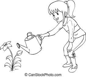 Gardening - Outline illustration of little girl watering the...