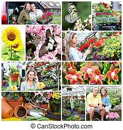 Gardening people collage.