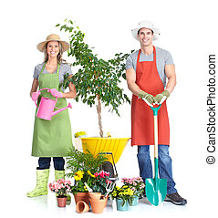 Gardening. People workers with flowers. Isolated over white...