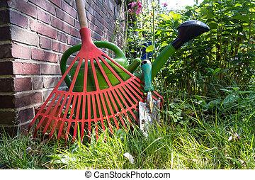 gardening - shovel, watering can, rake