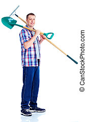 Gardening. Handsome man with shovel. Isolated over white...