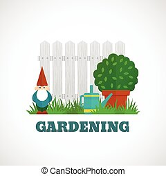 Gardening flat poster with dwarf fence and water pot on the lawn vector illustration