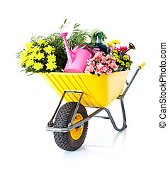 Gardening - potted flowers and gardening equipment isolated ...
