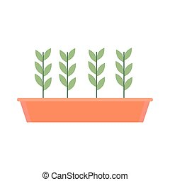 gardening potted plant growing icon on white background