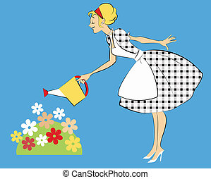 Pretty woman in 1950s outfit watering a flower bed, vector illustration
