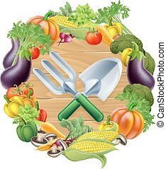 Gardening Produce Concept - Trowel and garden fork gardening...