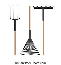 Gardening rake set vector design