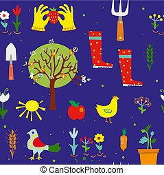 Gardening seamless pattern illustraition