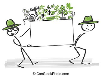 gardening season opened - gardeners carry a box with plants...