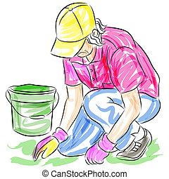 An image of a gardening senior woman.