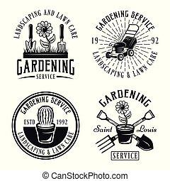 Gardening service vector emblems, badges, labels