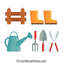 Gardening set icons vector design