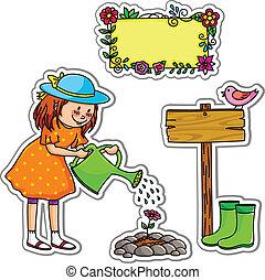 little girl watering her garden, plus elements for design