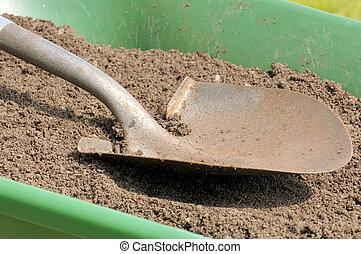 gardening-shovel-sandy, soil-wheelbarrow
