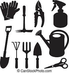 A set of gardening tool silhouette icons isolated on white background.