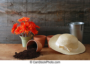 Gardening still life with hat