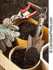 gardening - taken under studio light with electronic flash