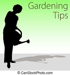Gardening Tips - An image of a woman holding a watering can.