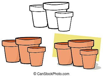 Three Terra Cotta Pots. Collection - Gardening Tool-Three...