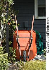 Gardening Tools - A still life of gardening tools, focusing...
