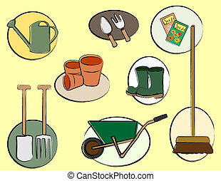 A vector illustration depicting gardening tools. Retro style sketch.