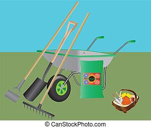 Gardening Tools - A Wheelbarrow,Hoe,Spade,Rake,Compost and a...