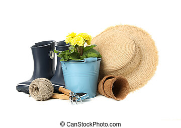 Gardening tools and accessories isolated on white background
