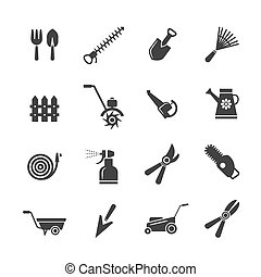Gardening tools and farming equipment icons. Pruning hilling, irrigation fertilization