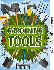 Gardening tools and farming instruments - Gardening work...