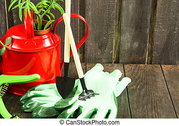 Gardening tools and gloves on wooden background with copy space