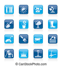 Gardening tools and objects icons