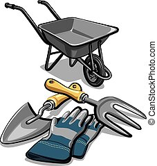 gardening tools and wheelbarrow