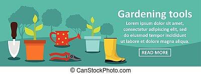 Gardening tools banner horizontal concept