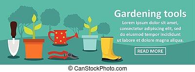Gardening tools banner horizontal concept