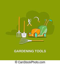 Gardening tools concept, cartoon style