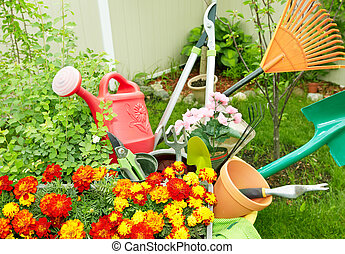 Gardening tools. - Flowers and Gardening tools in the garden...